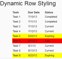 Dynamic Row Styling Part 1