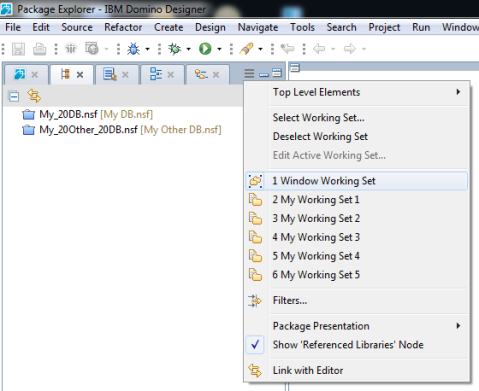 Blog - Package Explorer - 3 - Window Working Set Selected